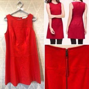 Loft red sleeveless shift dress